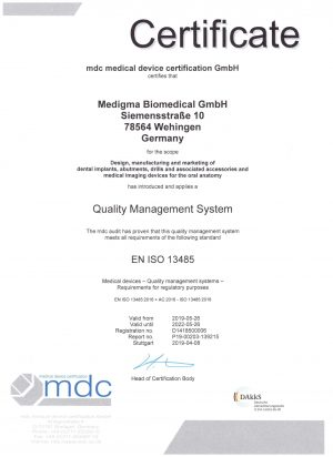 Certificate ISO 13485 exp. 5.2022